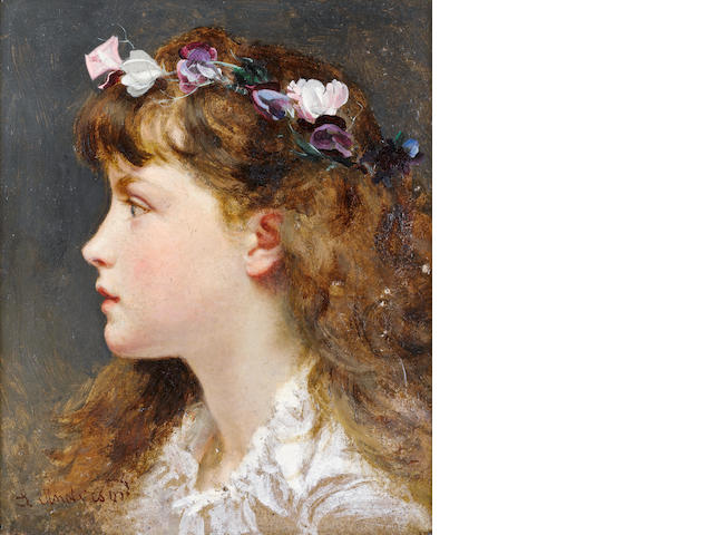Sophie Anderson (British, 1823-1903) A young girl with a garland of flowers in her hair