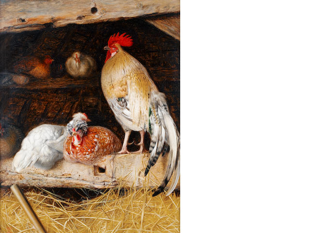 William James Webb (British, active 1853-1878) Poultry in a barn