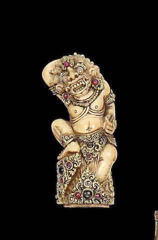 A Fine Balinese Ivory Kris Hilt