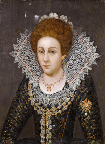 Follower of Robert Peake the Elder (circa 1551-1619 London) Portrait of a lady, half-length, unframed
