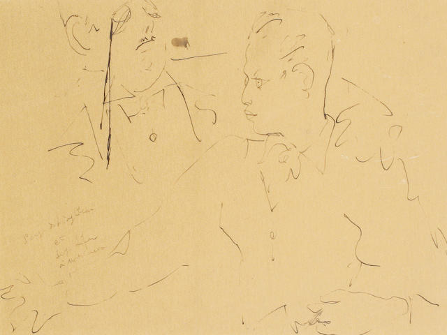 Jean Cocteau (French, 1892-1963) Serge de Diaghilev et Serge Lifar