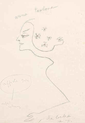 Jean Cocteau (French, 1892-1963) Anna Pavlova