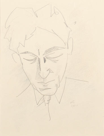 Jean Cocteau (French, 1892-1963) Pensive self portrait