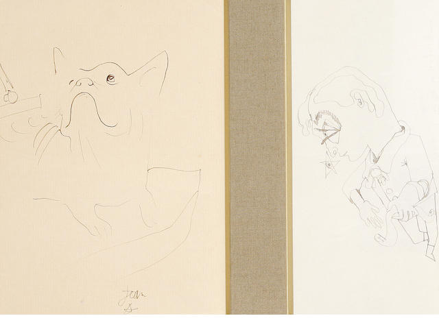 Jean Cocteau (French, 1892-1963) Jean Hugo; Chien one 19 x 13.5cm (7 1/2 x 5 1/4in) the other 19 x 9cm (7 1/2 x 3 1/2in)