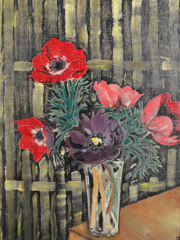 Jean Cocteau (French, 1889-1963) Anemones in a vase