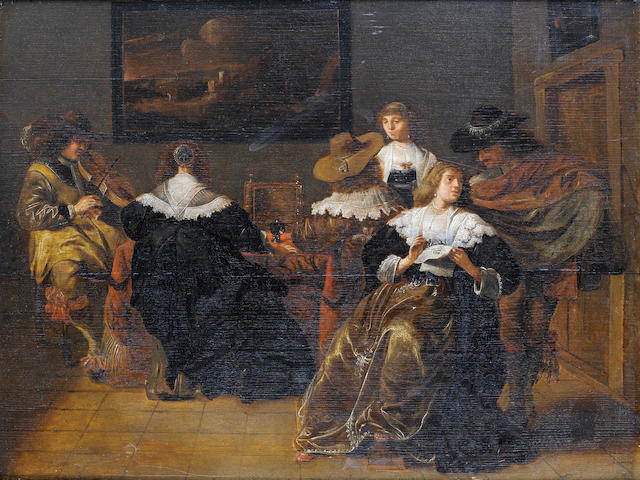 Circle of Pieter Jacobsz. Codde (Amsterdam 1599-1678) An elegant company drinking and making music