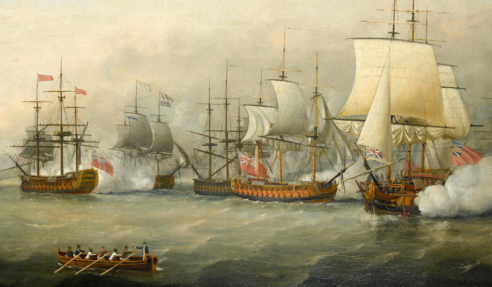 Francis Holman (British, 1767-1790) The action between the fleets of Rear-Admiral Sir Samuel (later Lord) Hood and the French Comte de Grasse in Frigate Bay, off Basseterre, St Kitts, 26th January 1782