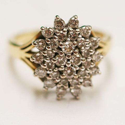 A multi stone diamond cluster ring,