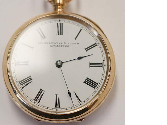 Waltham for Schierwater & Lloyd, Liverpool: An open faced fob watch,