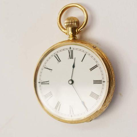 American Watch Co, Waltham, Mass: An open faced fob watch,