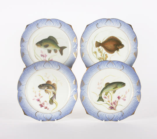 A set of four Royal Copenhagen plates of ichthyological interest Dated 1955.