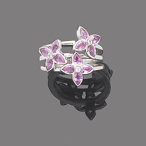 A pink sapphire and diamond dress ring, by Boodles