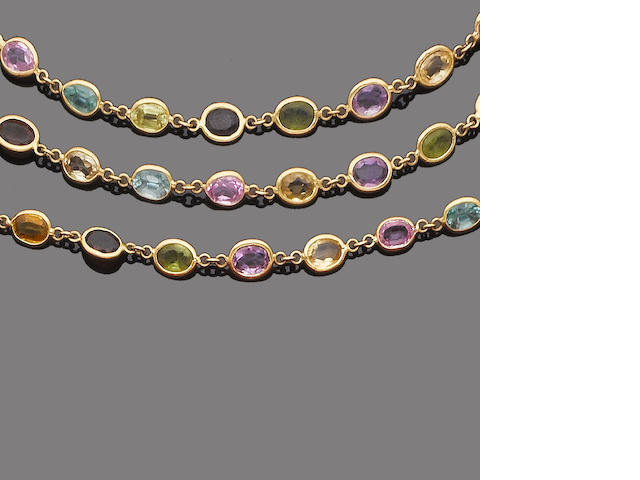 A multi gem-set necklace and bracelet suite (2)