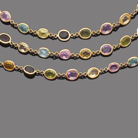A multi gem-set necklace and bracelet suite (2)