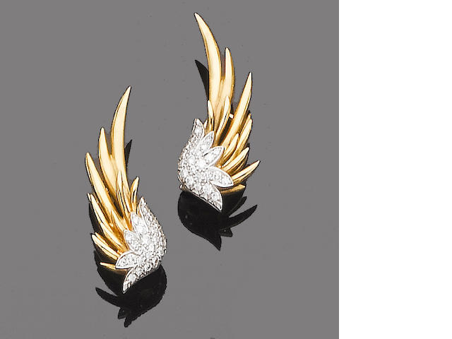A pair of diamond-set earclips,  by Schlumberger for Tiffany & Co.,