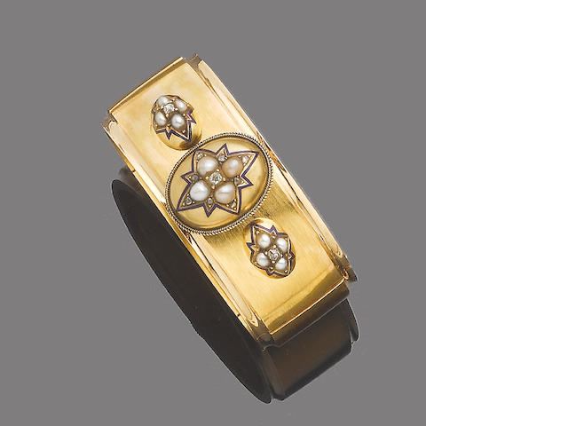 An enamel, cultured pearl and diamond bangle,