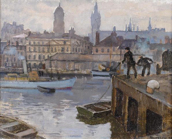 Alberto Morrocco, OBE RSA RSW RP RGI LLD D Univ (British, 1917-1998) The Harbour, Aberdeen