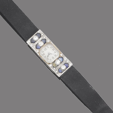 An art deco sapphire, synthetic sapphire and diamond wristwatch,
