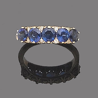 A sapphire five-stone ring