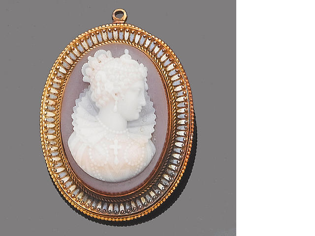 A hardstone cameo brooch/pendant,