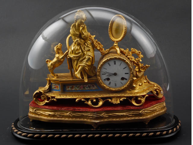 A late 19th Century French gilt metal and porcelain mounted mantel clock, Miroy Freres, Paris