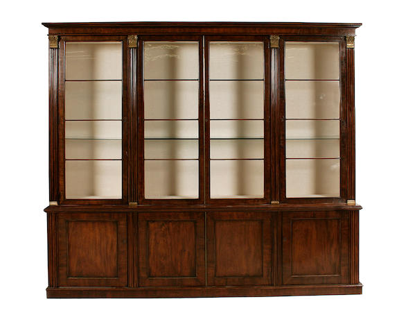 A mahogany and brass-mounted library bookcase