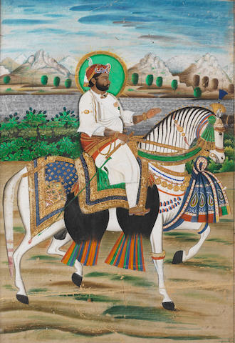 A prince on a horse in a landscape Udaipur, circa 1860