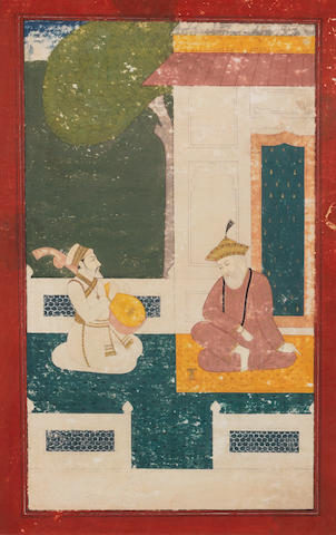 The Sikh Guru Nanak with a devotee North India, 19th Century