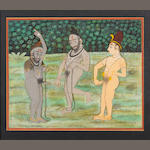 Three sadhus engaged in ritual practices 19th Century