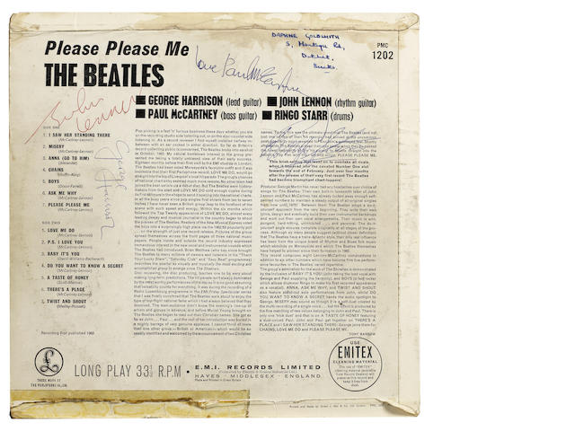 An autographed copy of the Beatles' debut album, 'Please Please Me', 1963,