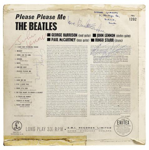 An autographed copy of the Beatles' debut album, 'Please Please Me', 1963,