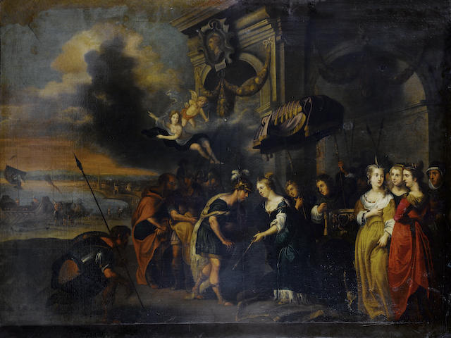Circle of Gerard Hoet (Bommel 1648-1733 The Hague) Dido and Aeneas 133 x 175cm