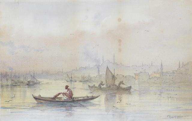 Vittorio Amadeo Preziosi (Maltese, 1816-1882) Vessels on the Bosphorous at dusk