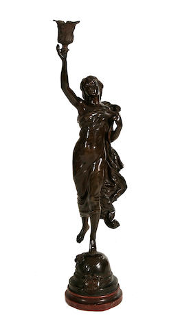 Adrien-Etienne Gaudez (French, 1845-1902): A bronze figure of a maiden 'L'Etoile du Matin' later adapted as a lamp base