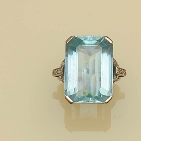 A large aquamarine and diamond cocktail ring