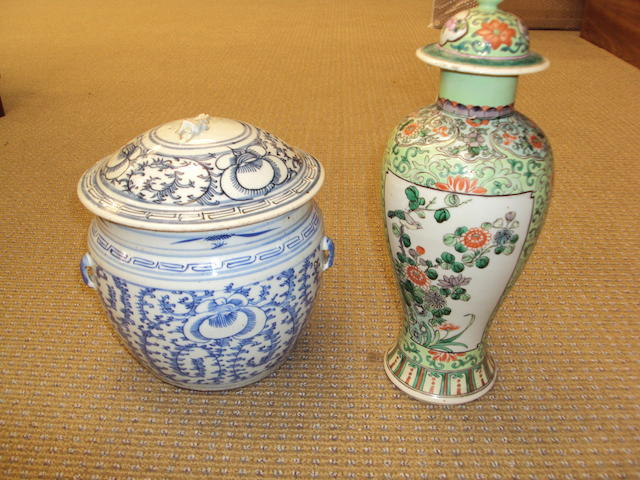 A famille vert vase and cover together with a blue and white storage jar and cover