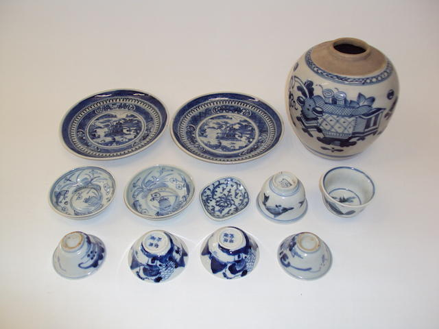 A collection of blue and white including a jar, plates and tea bowls 18th and 19th century