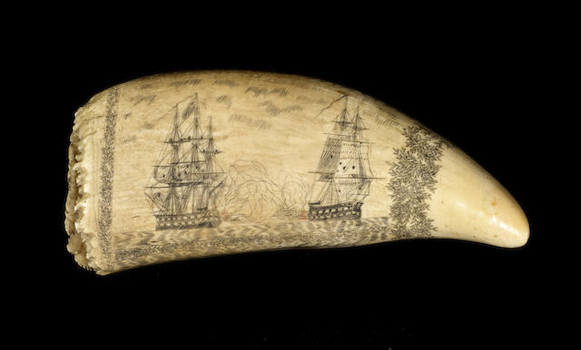 A partially polychromed and scrimshawed whale's tooth, mid 19th century, 8in (20cm) long.