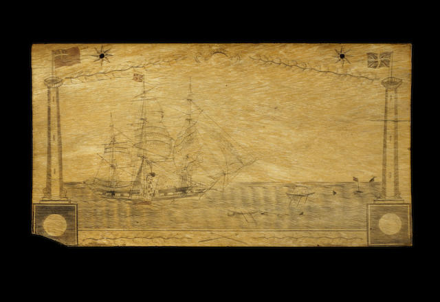 Large Scrimshawed Panbone - Whaling ship with 5 longboats, island in background