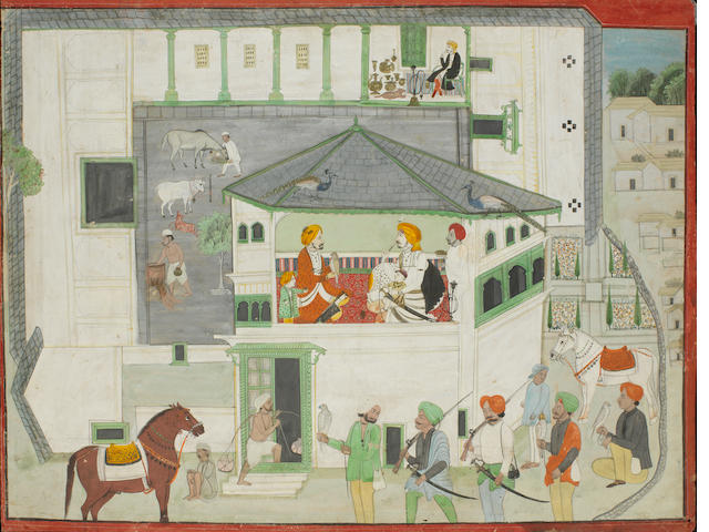 Two rulers on a terrace within a palace Sikh School