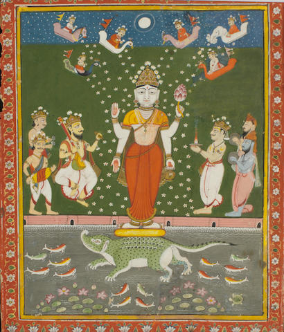 A four-armed Hindu goddess standing on a crocodile in a water tank, surrounded by musicians and devotees showering petals from overhead Kotah, circa 1830