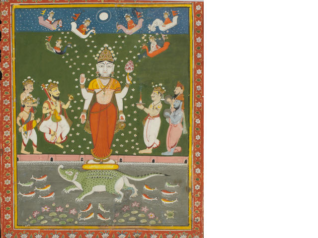 Deity with devotees Jaipur, circa 1800