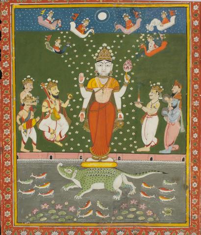 Deity with devotees Jaipur, circa 1800