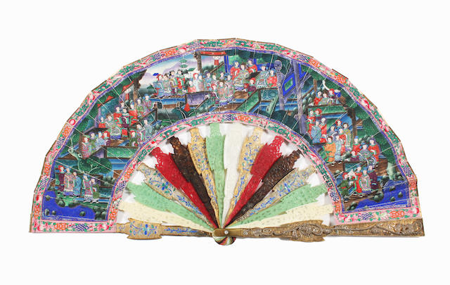 A Cantonese early 20th century fan with sticks of varying materials and a painted leaf