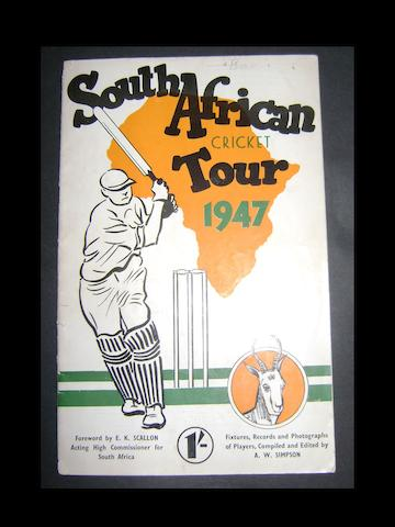 1947 South African hand signed cricket tour programme