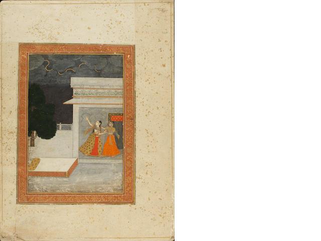 Todi Ragini: a maiden in a landscape with a vina Central India