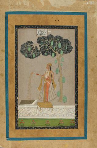 A lady beneath a mango tree Hyderabad, Deccan, 18th Century