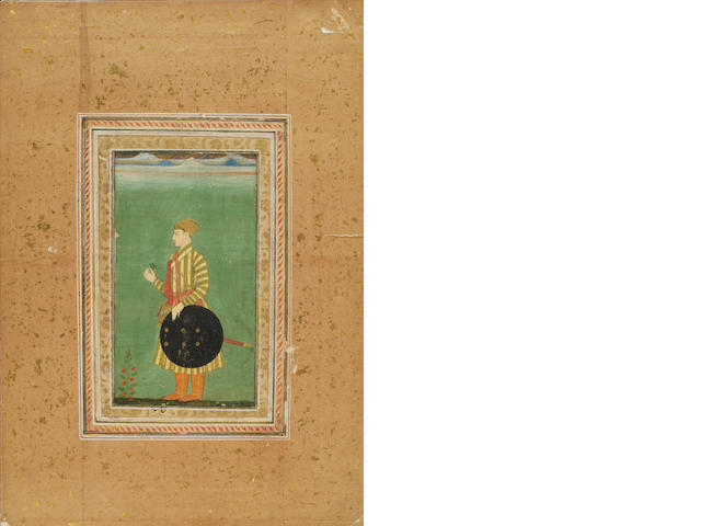 A prince with sword and shield facing left Provincial Mughal, circa 1760