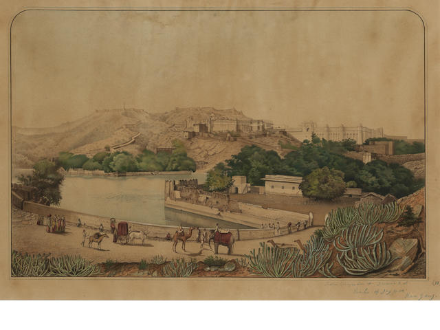 A view of Amber fort and Jaigarh fort Jaipur, 19th Century