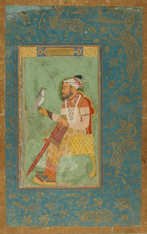 A prince with a falcon Mughal, 17th/18th Century